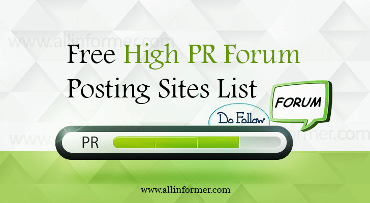 100 High PR Forum Posting Sites 2018